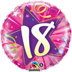 "Age 18 Pink Shining Star 18"" Foil Balloon"